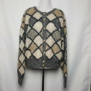 Outback Red Gray Argyle Mohair Oversized Cardigan